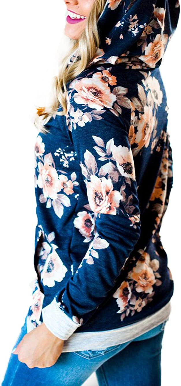iChunhua WD-Amour Womens Floral Print Casual Drawstring Long Sleeve Hoodie Pullover Sweatshirts