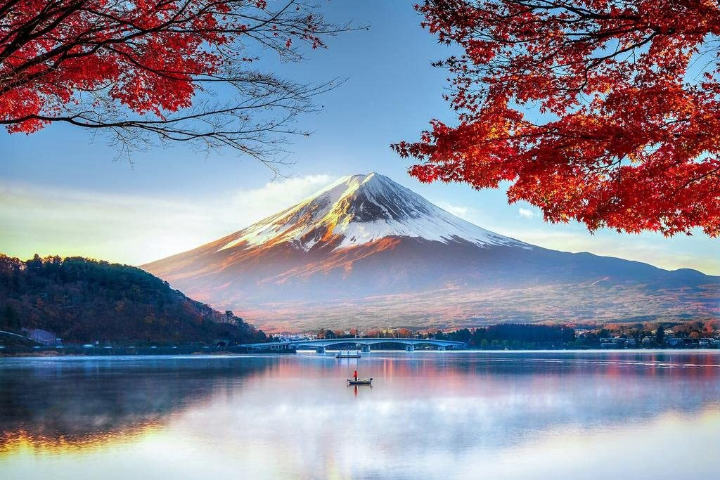 Mount Fuji Honshu Island Japan in Autumn Photo Photograph Cool Wall Decor Art Print Poster 36x24