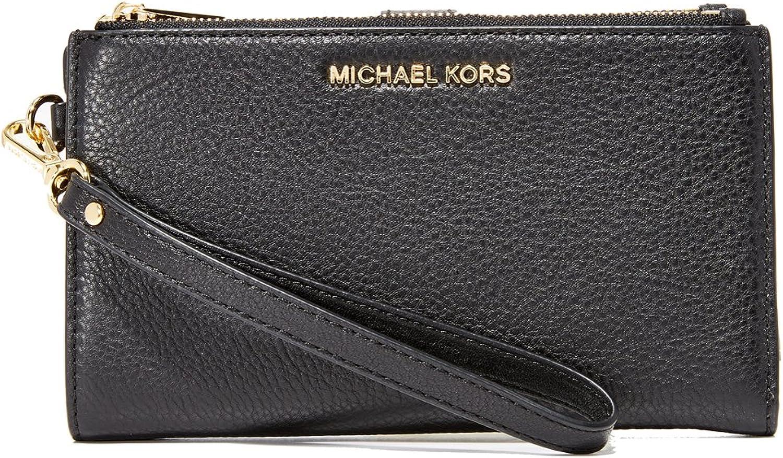 MICHAEL Michael Kors Women's Adele Double Zip Wristlet, Black, One Size