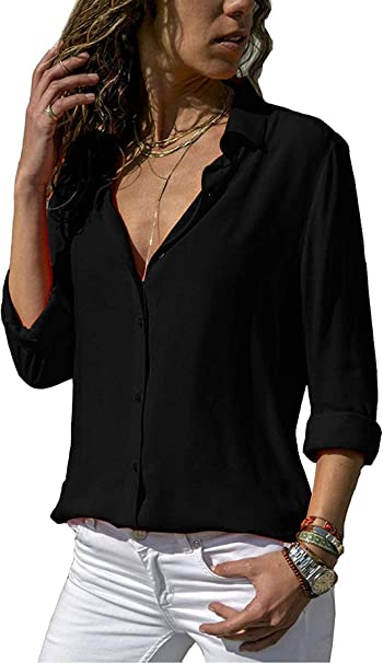 Bluse Damen Langarm V-Ausschnitt Oberteile Langarm T-Shirt Top Button Bluse Damen Hemd Sommer Damen Chiffon Bluse Sommer Langarmshirt Elegant Einfarbig Hemd Lose Casual Hemdbluse