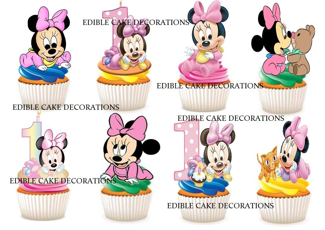 Marvelous 30 X 1St Birthday Girl Minnie Mouse Party Stand Up Edible Paper Funny Birthday Cards Online Kookostrdamsfinfo