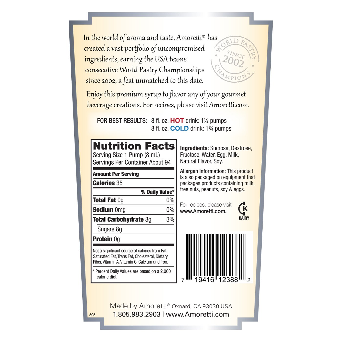 Amoretti Premium Syrup, Eggnog, 25.4 Ounce by Amoretti (Image #2)