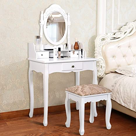 Giantex Vanity Set Makeup Dressing Table With Mirror White Vanity Tables For Bedroom Bathroom Large Dress Table Vanity Desk With Padded Bench Chair