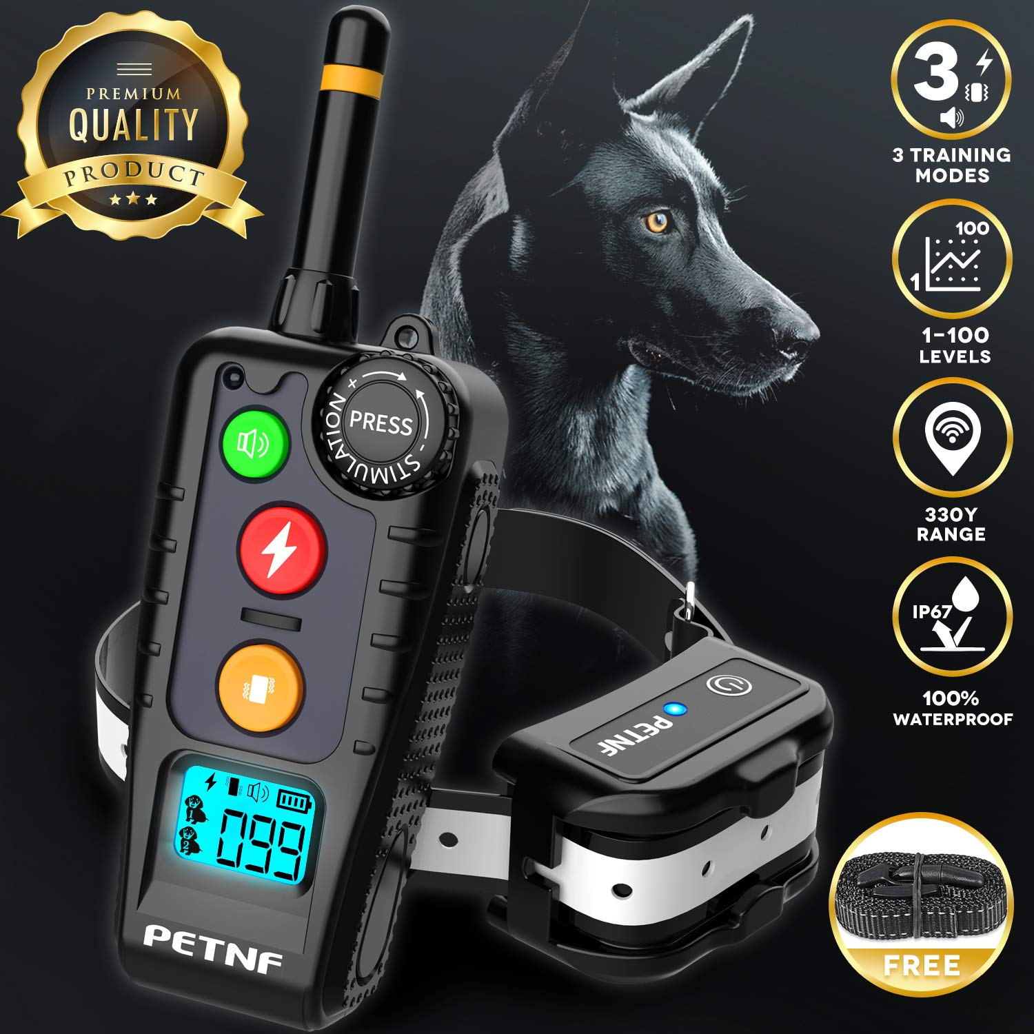 Shock Collar for Dogs,2019 Newest Dog Shock Collar with Remote,Dog Training Collar, Electric Bark Collar Rechargeable Waterproof,3 Training Modes,Remote Range Control,Backlight LCD Screen,Anti Leakage by petnf