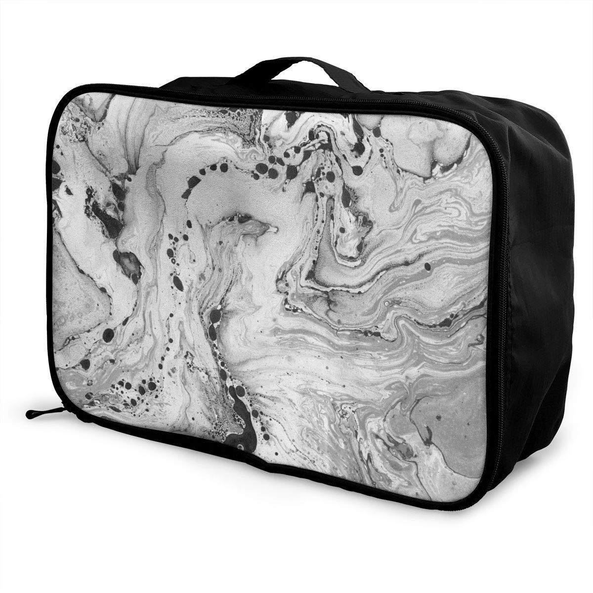 Grey And White Marble Travel Duffel Bag Waterproof Fashion Lightweight Large Capacity Portable Luggage Bag
