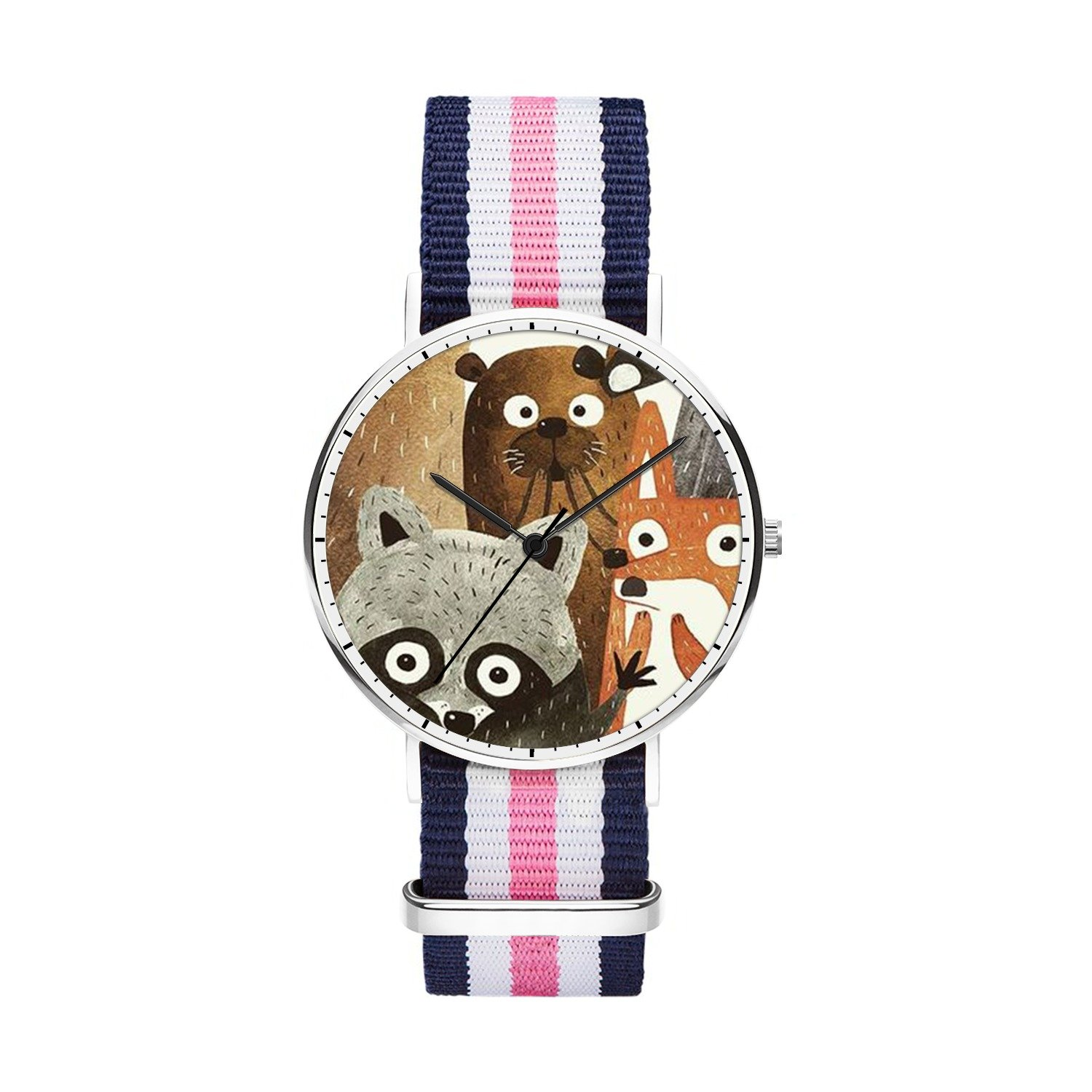 FELOOWSE Girls Watches, Women Watches, Sliver Slim Minimalist Imported Japanese Quartz PracticalWaterproof Unique Personalized Youth Fashion Design Cute Watches for Women.- Raccoon