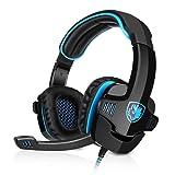 GHB Sades SA-901 Gaming Headset USB Headset 7.1CH Surround Sound Stereo PC Gaming Kopfhörer mit Mikrofon Blau+Schwarz