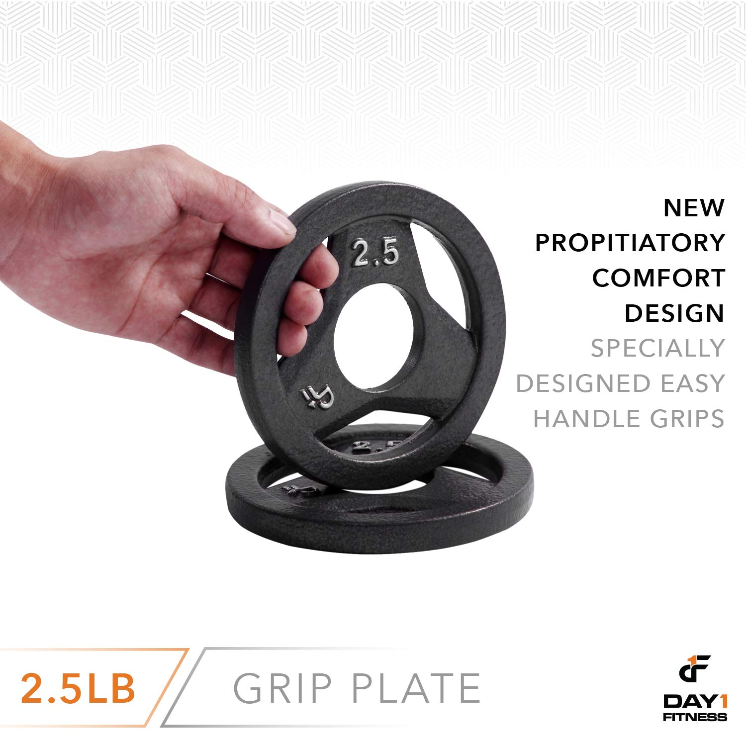 """6 weights Available Crossfit Singles or Pairs Renewed Plates for Weightlifting 2/"""" Weight Plate for Bodybuilding Cast Iron Olympic 2-Inch Grip Plate by D1F for Barbell 2.5 to 45lbs"""