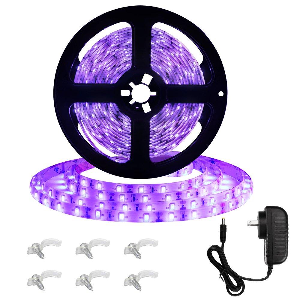 Onforu 16.4ft LED UV Black Light Strip Kit, IP65 Waterproof, 12V Flexible Black Light Fixtures with 300 Units UV Lamp Beads for Fluorescent Dance Party, Stage Lighting, Aquarium, Body Paint