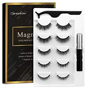 Magnetic Eyelashes Kit With Magnetic Eyeliner 3D Magnetic Eyelashes Magnetic Lashliner For Use with Magnetic False Lashes Natural Look-No Glue Needed (5-Pairs)