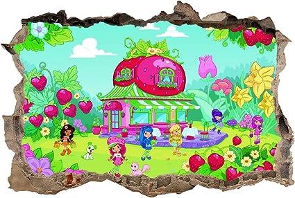 Strawberry Shortcake 3D Smashed Wall Sticker Decal Decor Art Mural Kids J546