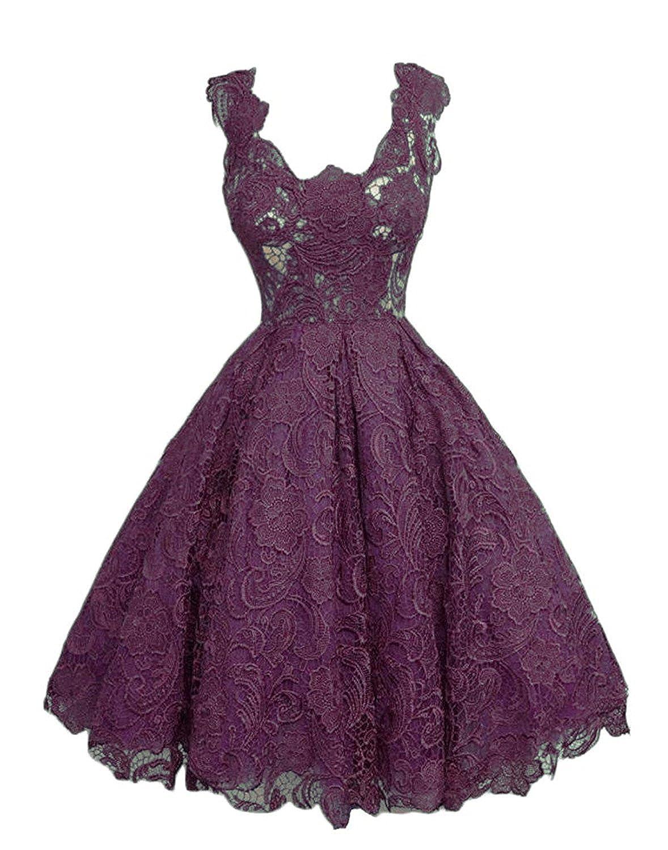 Grape Caissen Women's Knee Length Lace Appliques Satin Ball Gown Square Neck Zipper Cocktail Dress Party Wear Dance Gown