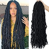 Youngther 24 Inch New Faux Locs Crochet Hair 6 Packs Extensible New Soft Locs Crochet Hair Pre Looped Synthetic Crochet Hair