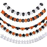 Frienda 5 Set Halloween Paper Garlands Decoration Prop Pumpkin Spider Bat Ghost Skull Shape
