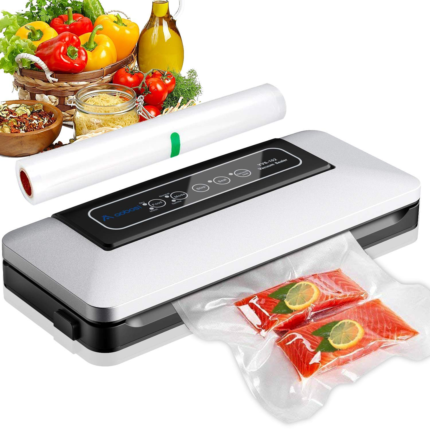 Aobosi Vacuum Sealer Automatic Vacuum Machine with BPA Free Bag Roll for Food Save and Sous Vide Cooking,Super Low Noise,Normal& Gentle Vacuum Modes,Multi-use Vacuum Packing Machine (Silver) by AAOBOSI