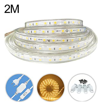 AveyLum LED Lichtband Warmweiß 2M/6.56ft LED Streifen Lichtleiste ...