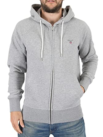 d4bf4477 Mens Gant Grey Melange Original Full Zip Logo Hoodie - XL: Amazon.co ...