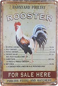 PXIYOU Cool Rooster Sign Retro Vintage Home Bar Kitchen Farmhouse Home Decor Signs Outdoor Chicken Signs 8X12Inch