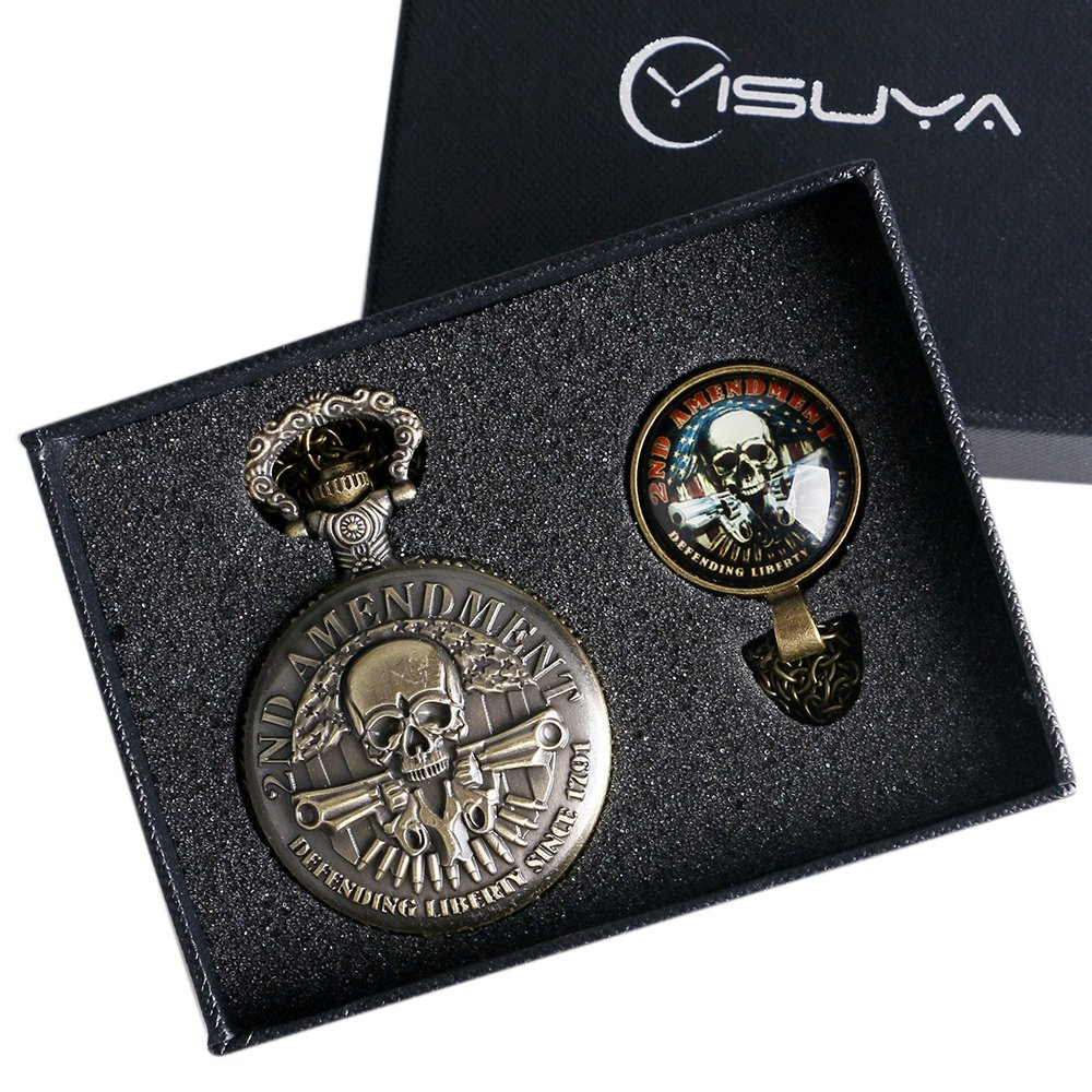 YISUYA Bronze 2nd Amendment Theme Pocket Watches US Defending Liberty Since 1791 Fob Watch Gift Set by YISUYA