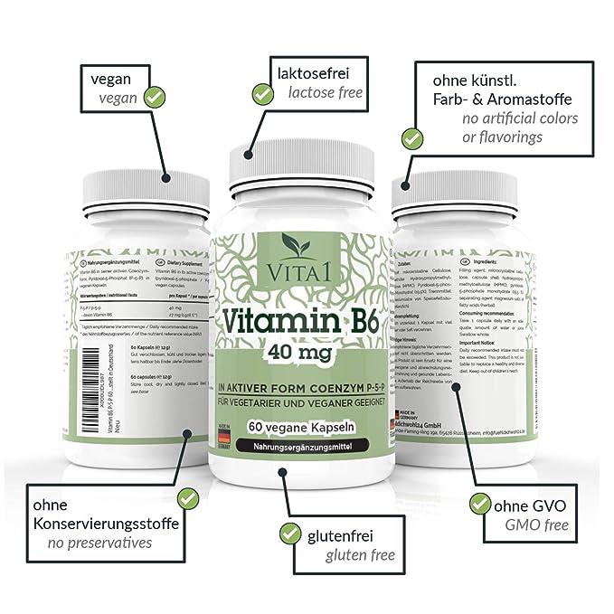 Vita 1 Vitamina B6 P de 5 de p 40 mg 60 Cápsulas (2 meses Tarro) en su forma activo coenzym P de 5 de p, 12 g: Amazon.es: Salud y cuidado personal