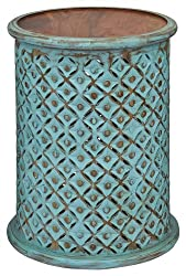 "Jofran 1730-17TRQ Global Archives Drum Table, 17"" W X 17"" D X 23"" H, Turquoise Finish, (Set of 1)"