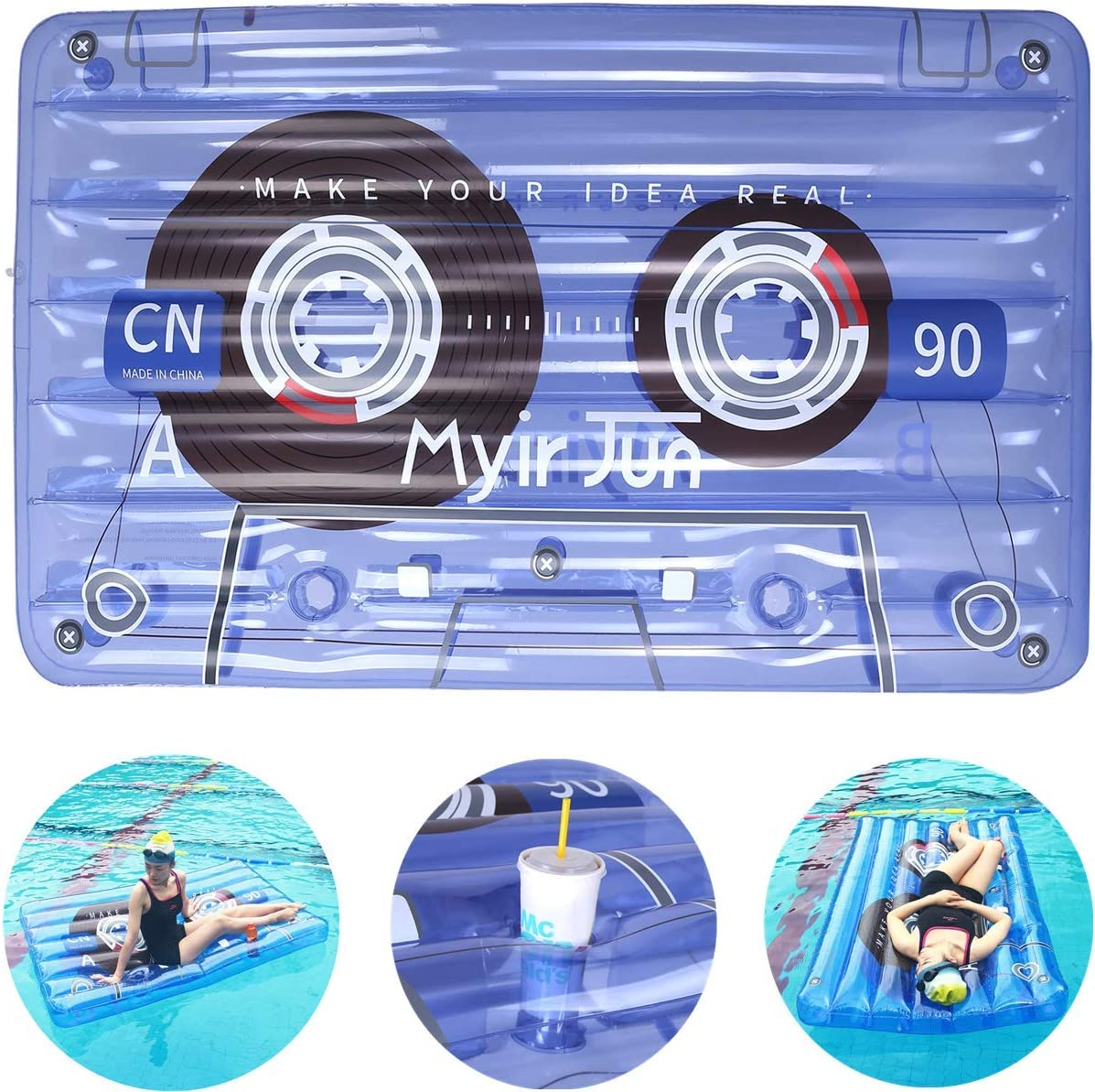 Myir Jun Cinta de Audio Hinchable Gigante con 2 Posavasos, Flotador Piscina Transparente Colchoneta Piscina Inflable para Piscina Flotador de Agua Adultos Niños (Cinta de Audio)