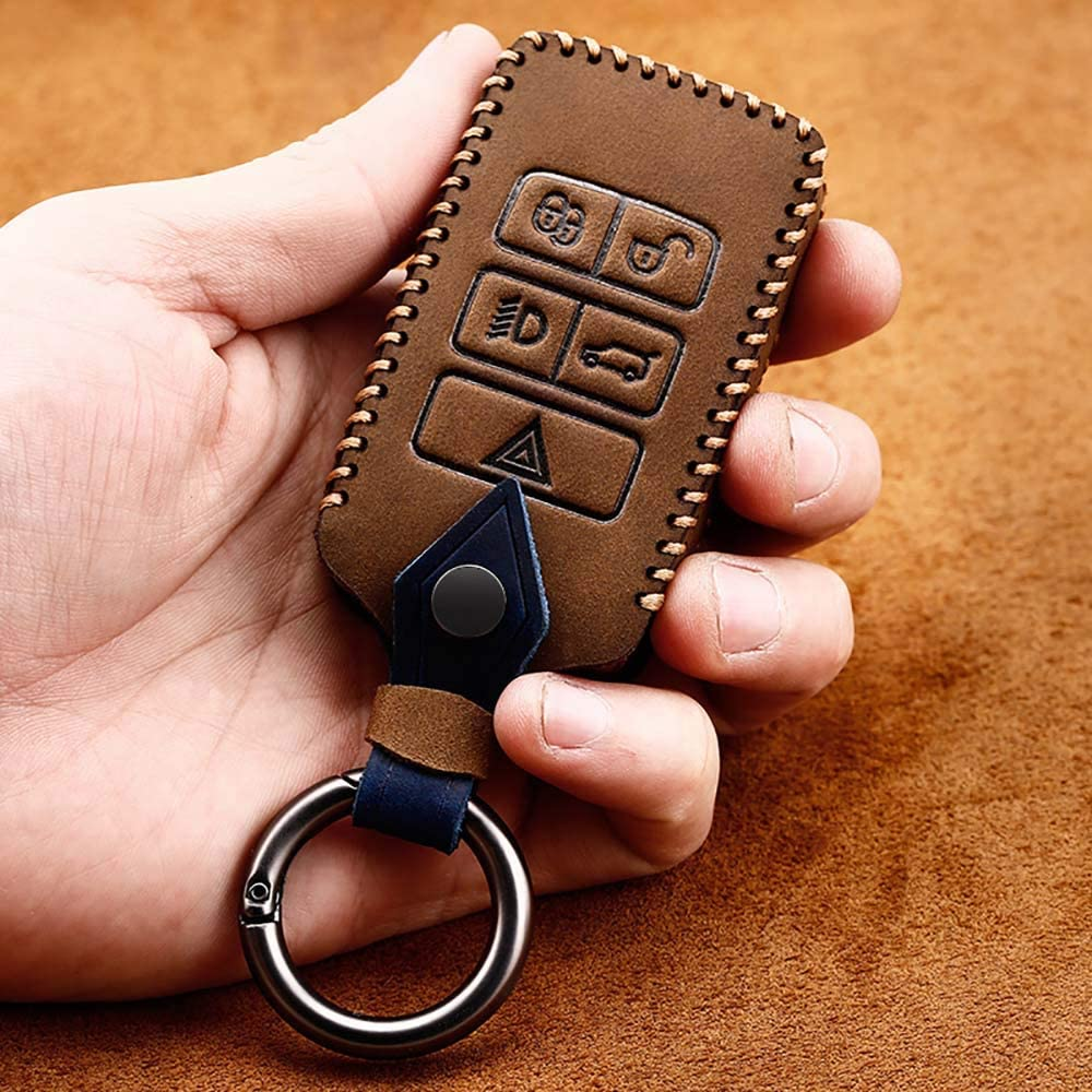 ontto for Land Rover Car Key Cover Leather Key Fob Cover Holder Protector for Land Rover Range Rover Sport Evoque Velar Discovery 5 2018 2019 2020 5-Button Remote Car Key Case Keyring Blue