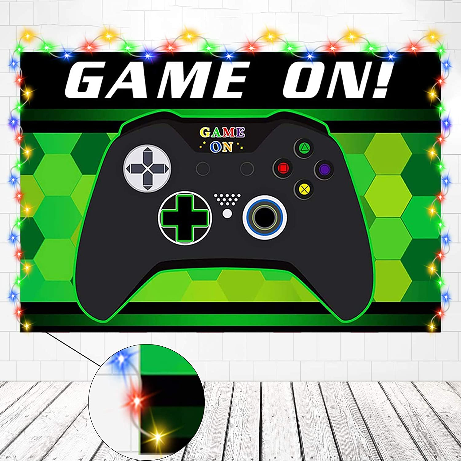 Video Game Party Supplies Decorations, Backdrop for Kids Boys Photo Background with String Light Strap Kit On Gamer of Birthday Level Theme Party Decor Up