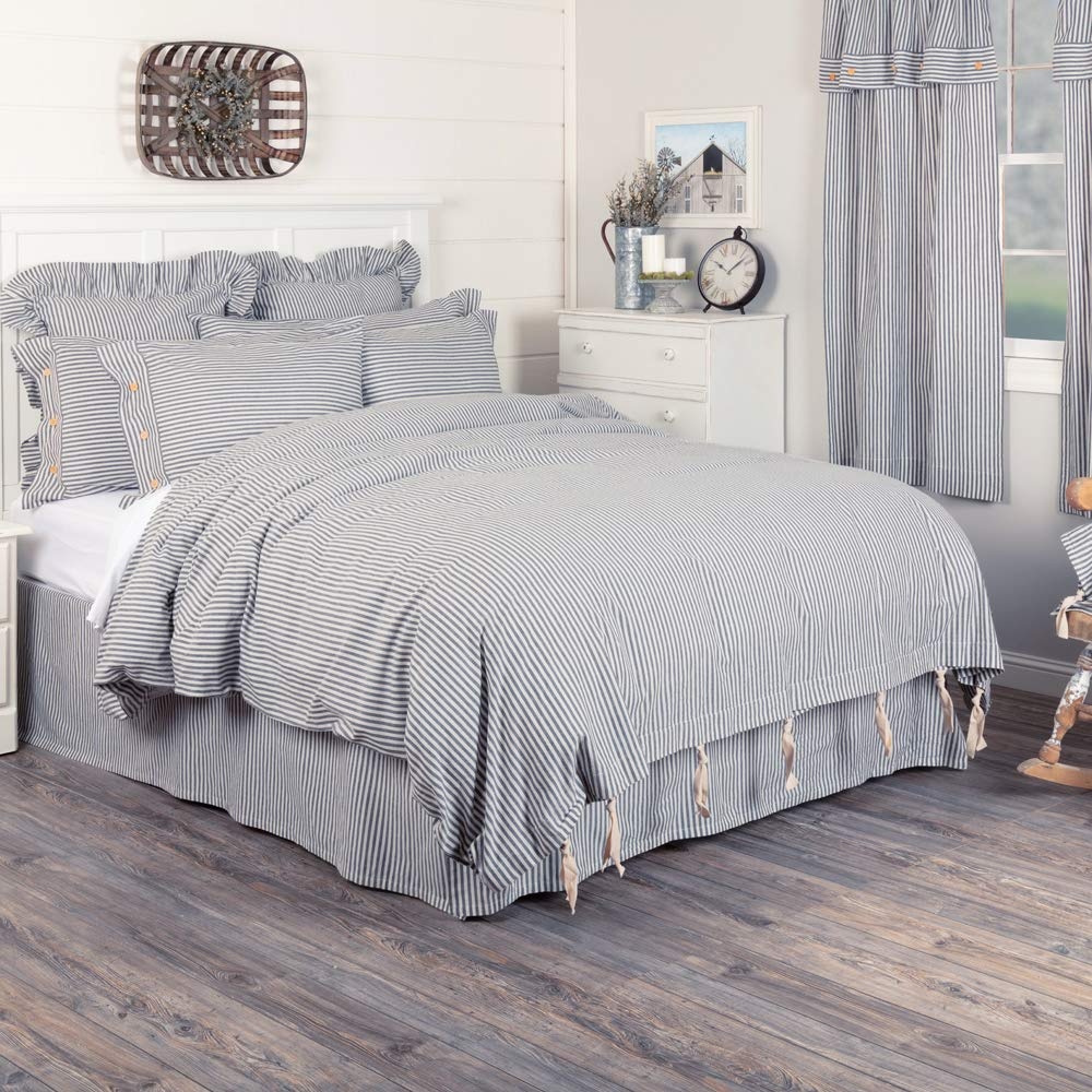 Piper Classics Farmhouse Ticking Stripe Duvet Cover Bedding, Navy Blue & Off-White, Queen 92x92, Comforter Cover w/Twill Ties, Soft, Comfortable, Farmhouse Bedroom Decor by Piper Classics (Image #1)