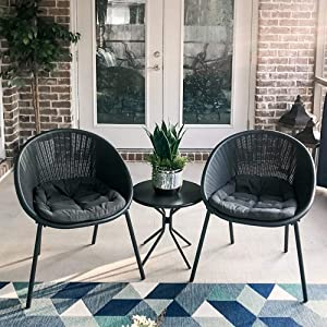 PURPLE LEAF 3 Pieces Patio Furniture Set Outdoor Bistro Table Set with Weather Resistant Steel Frame and Round Table, Cushions Included, Gray