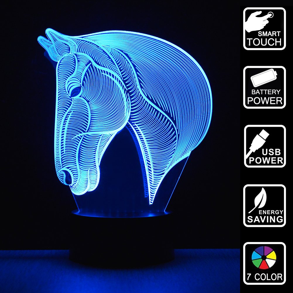 Horse Head 3D Night Light Illusion Night Light Horse Gifts LED Lights 7 Color Changing Touch Table Desk Lamps Horse Light Christmas Present For Girls Kids Children