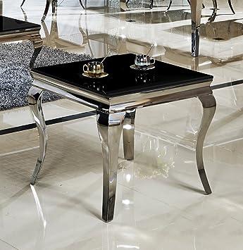 Beistelltisch glas chrom  Beistelltisch 60 x 60 x 50 Ina Nachttisch schwarz designer luxus ...