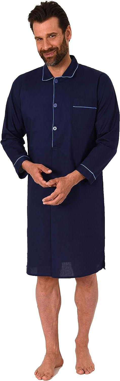 191 110 91 110 NORMANN-W/äschefabrik Klassisches Herren Nachthemd Langarm gewebt mit Knopfleiste