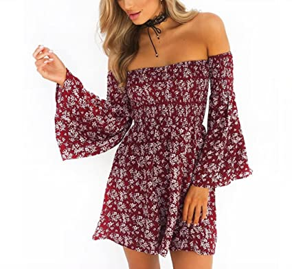 Morbuy Vestido, Moda Vestido Estampado de Flores Rojas Corto de Verano Mujer Fuera de Hombro
