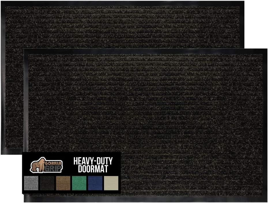 Gorilla Grip Original Low Profile Rubber Door Mat, 35x23, Pack of 2, Durable Doormat for Indoor and Outdoor, Waterproof, Easy Clean, Home Rug Mats for Entry, Patio, High Traffic, Black