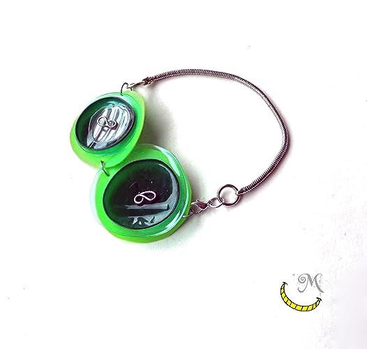 Pulsera de plástico reciclado con la cadena - plata india - verde - romantico - original