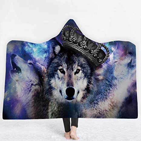 Amazon com: WSHINE Criwn Wolf Fleece Thick Throw Blanket