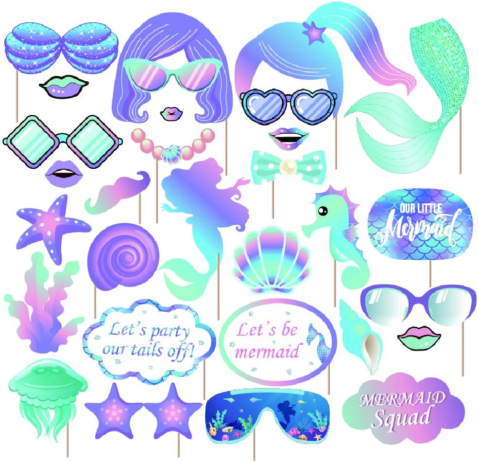 Kristin Paradise 30Pcs Mermaid Photo Booth Props with Stick, Under The Sea Selfie Props, Party Supplies, Birthday Theme Backdrop Face Decorations, Boy Girl Kids First 1st Bday Baby Shower