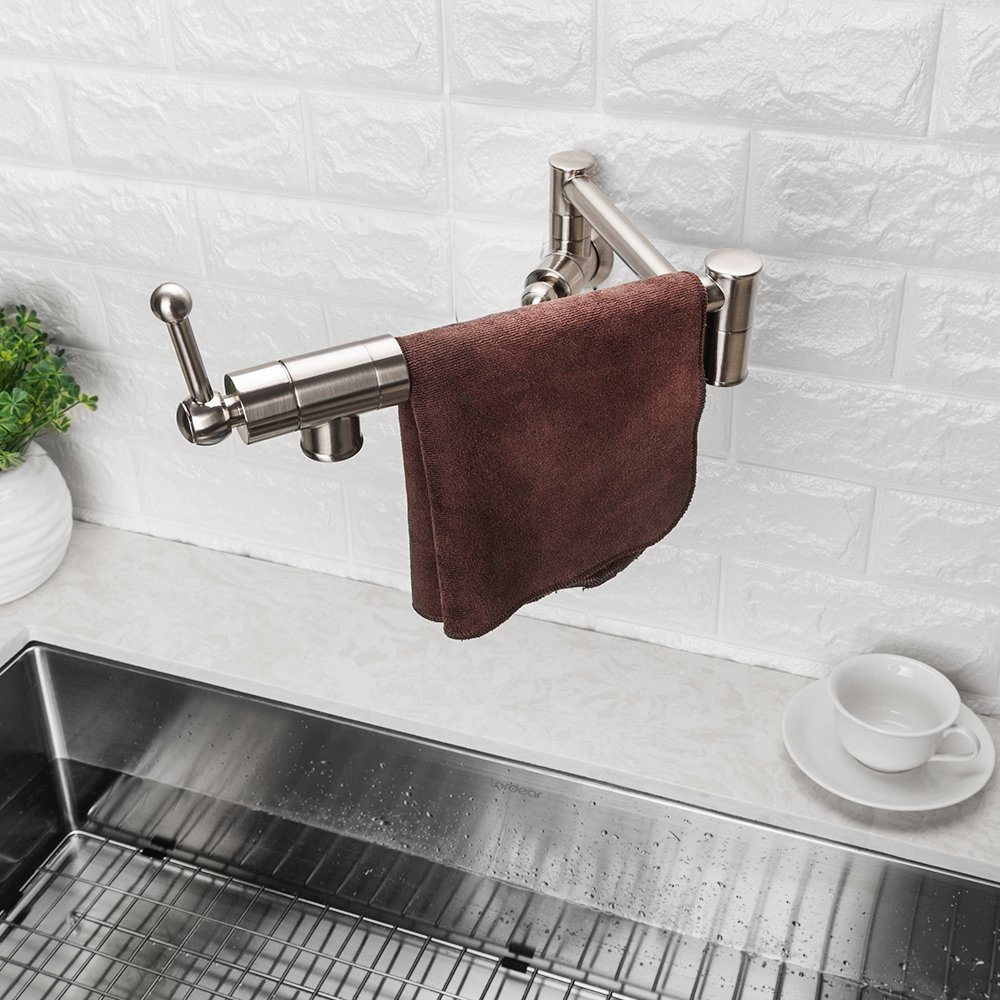 LORDEAR Stainless Steel Pot Filler Folding Stretchable Double Joint Swing Arm Brushed Nickel Wall Mount Kitchen Faucet, Single Hole Two Handle Kitchen Sink Faucet by Lordear (Image #9)