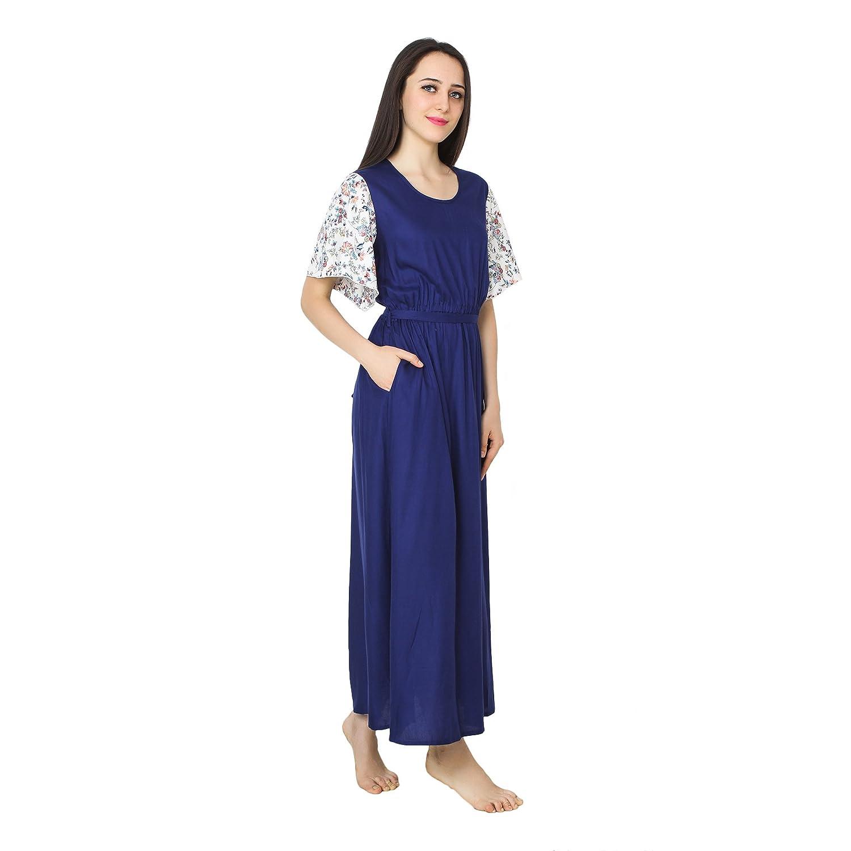 52bf174998 Patrorna Blended Women s Kaftan Style Shift Nighty Night Dress Gown in Royal  Blue (Size S-7XL