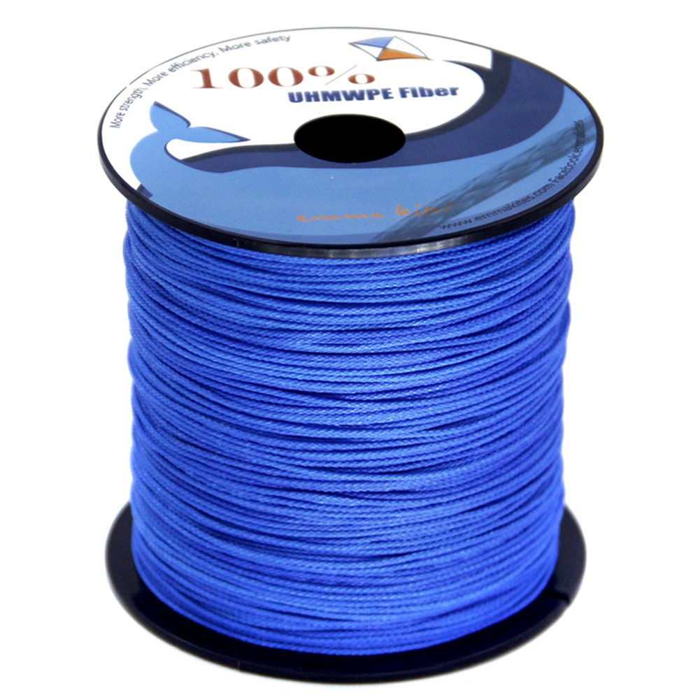 emma kites Blue UHMWPE Braided Cord High Strength Least Stretch Tent Tarp Rain Fly Guyline Hammock Ridgeline Suspension for Camping Hiking Backpacking Survival Recreational Marine Outdoors 100Ft 750Lb by emma kites (Image #5)