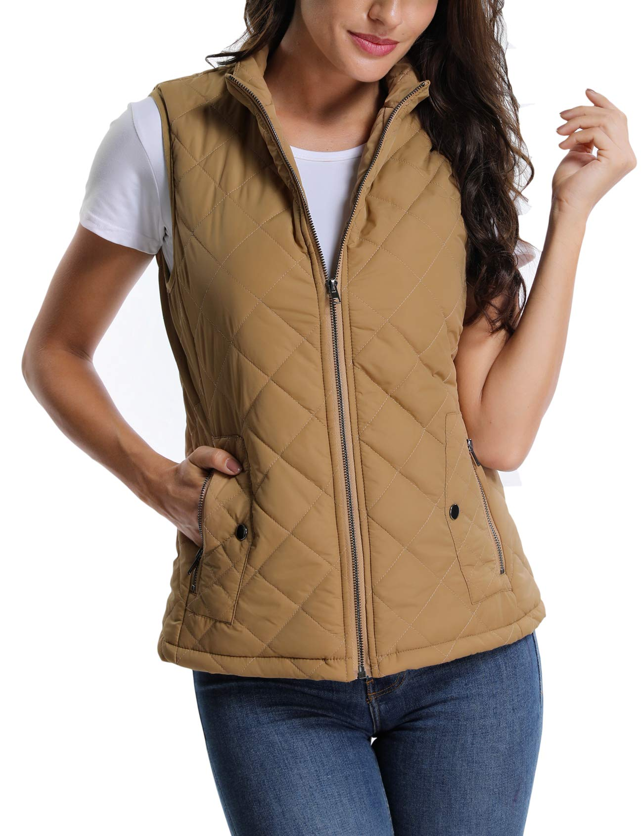MISS MOLY Women's Stand Collar Lightweight Padded Zip up Sleeveless Vest Warm Quilted Gilets