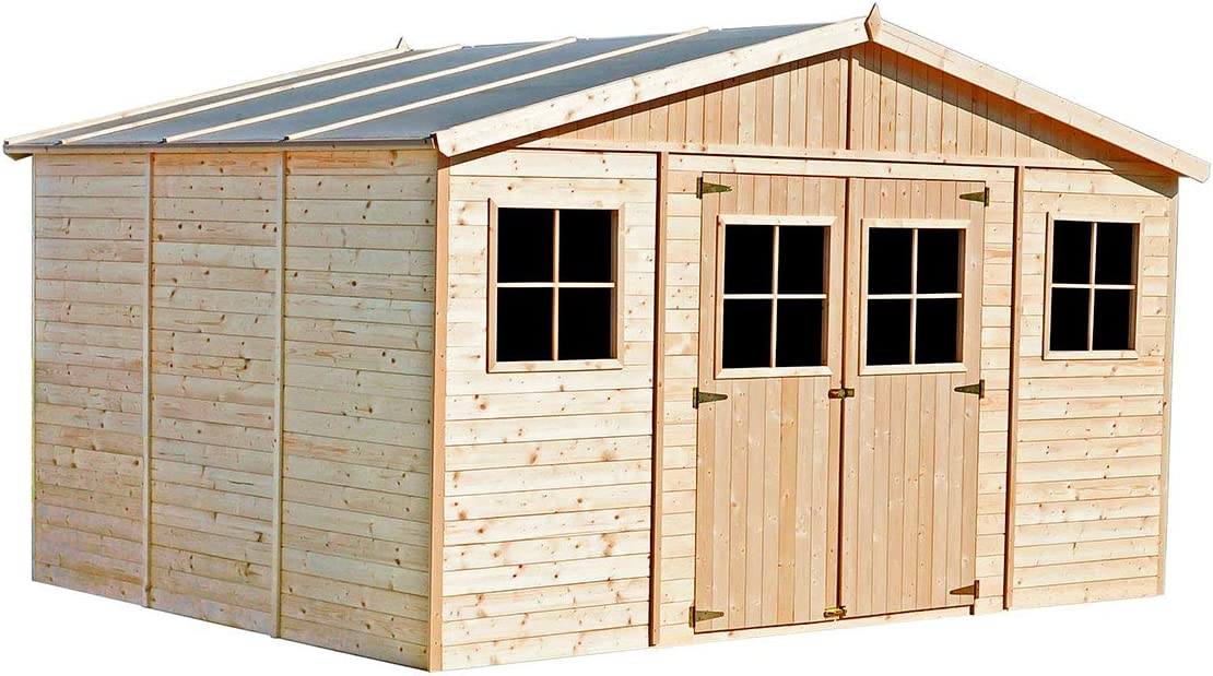Garaje de Madera Vladimir 13,24 m² Exterior 320x418x188/246 cm