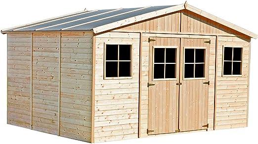 Garaje de Madera Vladimir 13, 24 m² Exterior 320x418x188/246 cm: Amazon.es: Jardín