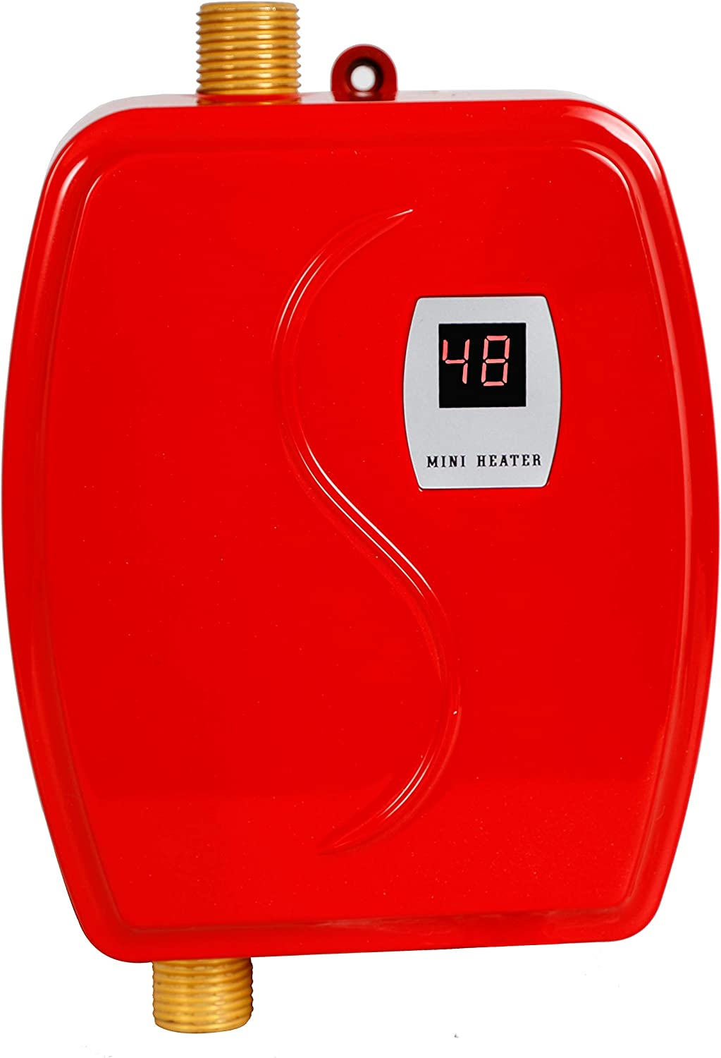 Gdrasuya10 3.0 KW 110V Mini Instant Electric Tankless Hot Water Heater for Shower Kitchen Washing Faucet Home Bathroom Heating System (Red)
