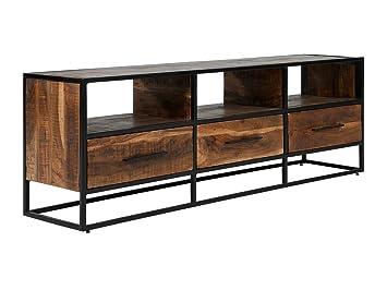 Massivum Lowboard Oklahoma 175x60x40 Cm Aus Akazie Massiv Holz Braun Lackiert Und Gestell Metall Schwarz Mit 3 Schubladen Tv Bank