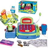 Cash Register, Multi-functional Educational Pretend Play, w/ Battery Operated Toy Money, Credit Card, Working Calculator and Microphone, Scanner, Groceries (Green)