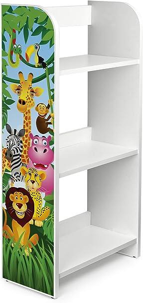 Leomark Estantería de Madera para Niños - Animales - Tres Estantes, Librero para Dormitorio, Altura 102,5 cm