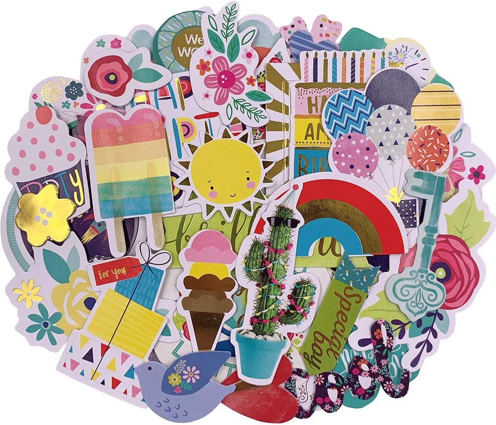 Scrapbook Stickers,97pcs Cardstock Stickers Party Favor Stickers Metallic Stickers Masking Stickers for Personalize Laptop Scrapbook Daily Planner and Crafts