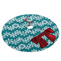 NGFF White Snowflake Big Red Bow Traditional Christmas Tree Skirt Santa & Reindeer Tree Ornaments Tree Skirt for…